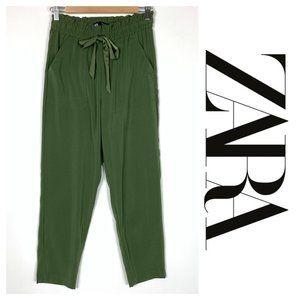 Zara Olive Green Drawstring Jogger Pocket Pants XS
